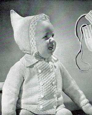 Vintage Knitting PATTERN to make Baby Infant Set Sweater Jacket Hat Booties Mitt