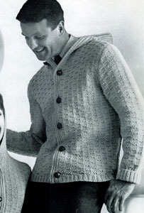 Knitting Patterns For Hooded Sweaters : Mans Hooded Cardigan Pattern Knitting Patterns
