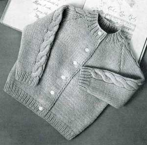 Knitting Pattern Raglan Cardigan : Knitted Raglan Cardigan, sizes 1, 2 & 3 Knitting Patterns