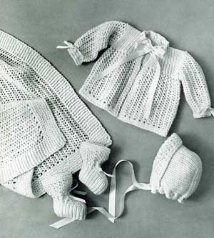 Knitted Layette Set, Wrapping Blanket, Jacket, Bonnet ...