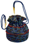 iridescent and blue bag with beads pattern