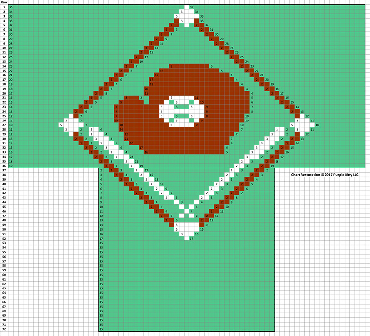 Baseball Diamond Socks Pattern #7245 chart