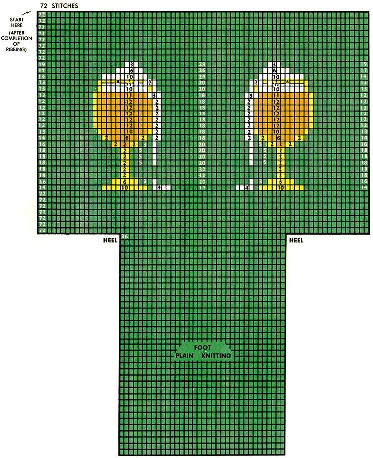 Twin Glass-o-Beer Clock Socks Pattern #72-105 chart