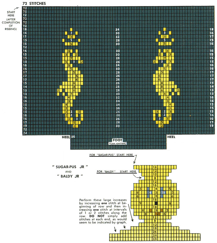 Sea Horse Clock Socks Pattern #72100 chart