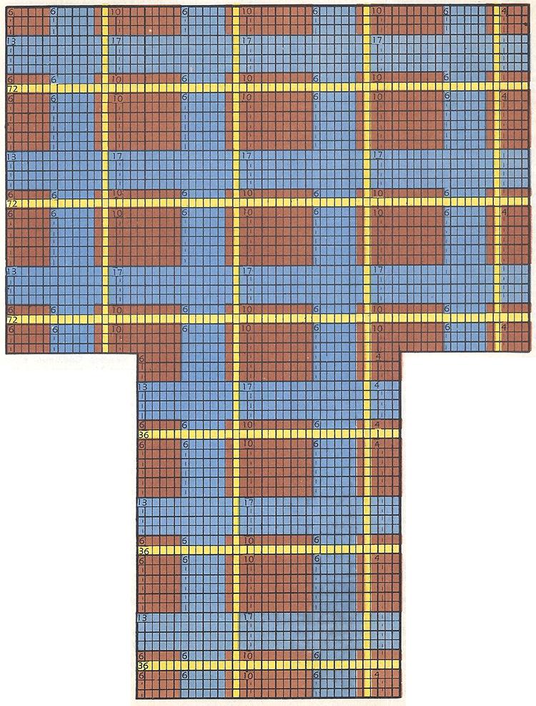 3-Color Plaid Socks Pattern #7214