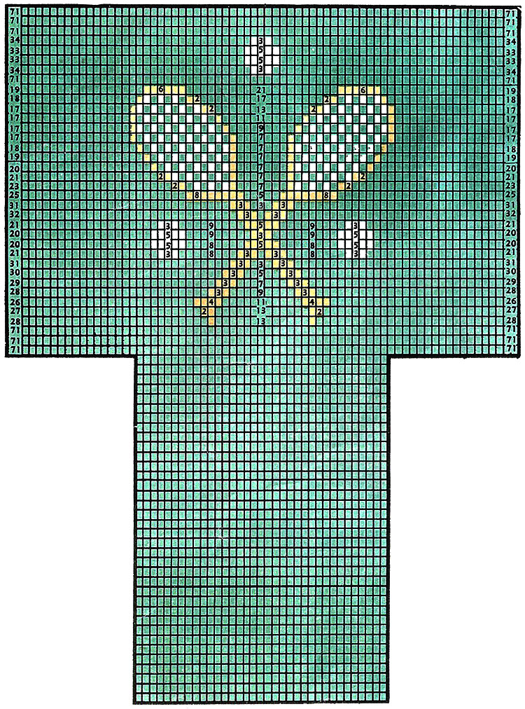 Tennis Racquet Socks Pattern #7247 chart