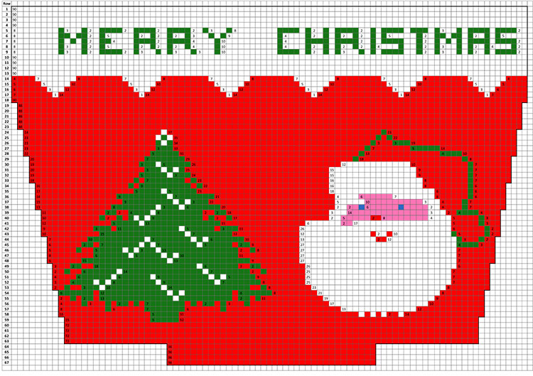 Santa and Tree Christmas Stocking Pattern #9001C chart