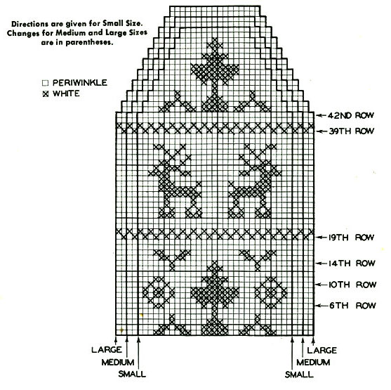 Lady's Fair Isle Mittens Pattern chart