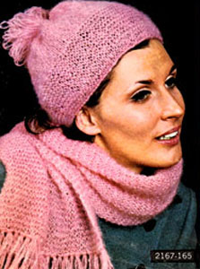 Knit Hat and Scarf Pattern #2167