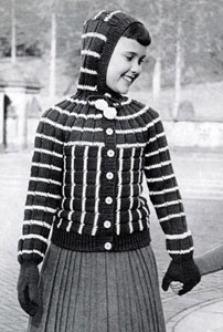 Hooded Cardigan Sweater & Mittens Patterns