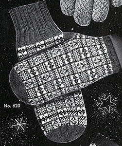 Men's Fair Isle Mittens Pattern #620
