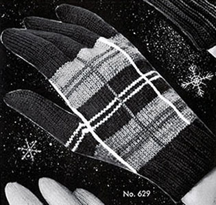 Women's Plaid Gloves Pattern #629
