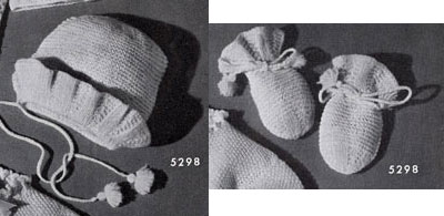 Bonnet and Mittens No. 5298 Pattern