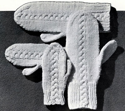 Braid Cable 4 Needle Mittens Pattern