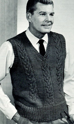 Knitting Pattern Mens Vest Free : Cable V-Neck Pullover Pattern Knitting Patterns