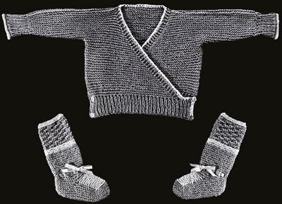Infant's Surplice Sweater and Booties Pattern