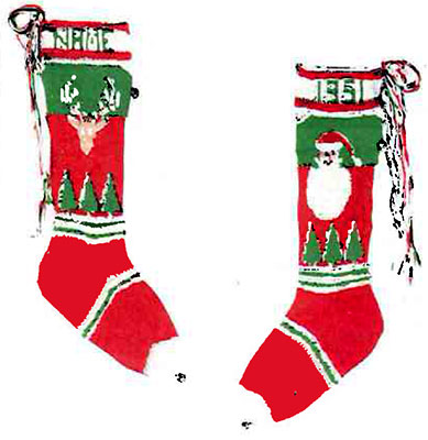 Santa And Reindeerhead Stocking Pattern 6204c Knitting Patterns