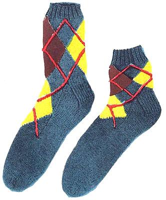 Argyle Slack Socks or Anklets Pattern #6401L