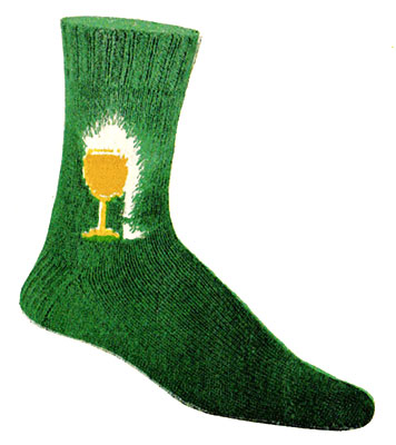 Twin Glass-o-Beer Clock Socks Pattern #72-105
