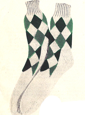 3-Color Diamond Socks Pattern #7203