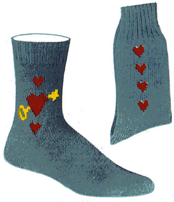Heart-Key Clock Socks Pattern #72102