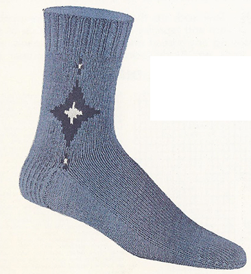 Diamond Star Clock Socks Pattern #72-104