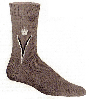 Crown and Vee Clock Socks Pattern #72-112