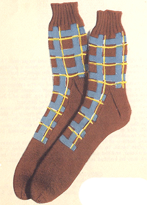 3-Color Plaid Socks Pattern #7214