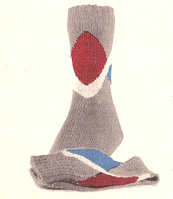 Center Diamond and Chevron Socks Pattern #7232