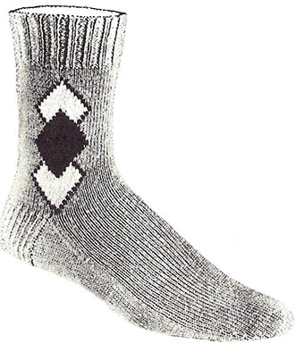 Overlapping-Diamonds Clock Socks Pattern #7279