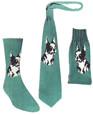 Boston Terrier Socks and Necktie Pattern #7287