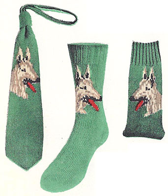 German Shepherd Socks and Necktie Pattern #7288