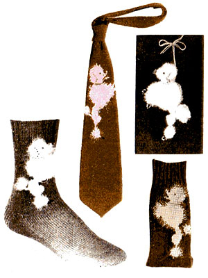 Poodle Socks and Necktie Pattern #7291
