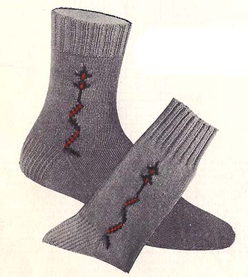 Fine-Line Clock Socks Pattern #7293