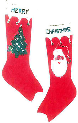 Santa and Tree Christmas Stocking Pattern #9001C | Knitting Patterns