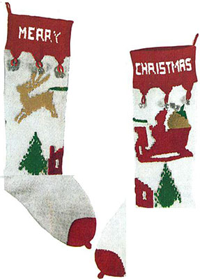 Reindeer and Sleigh Stocking Pattern #9002C