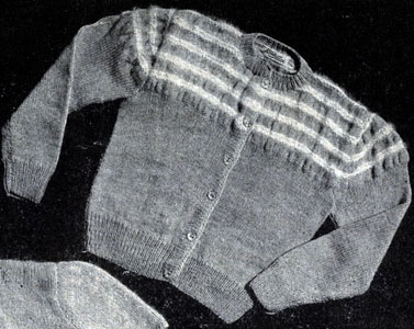 Cardigan with Pleated Angora Yoke Pattern