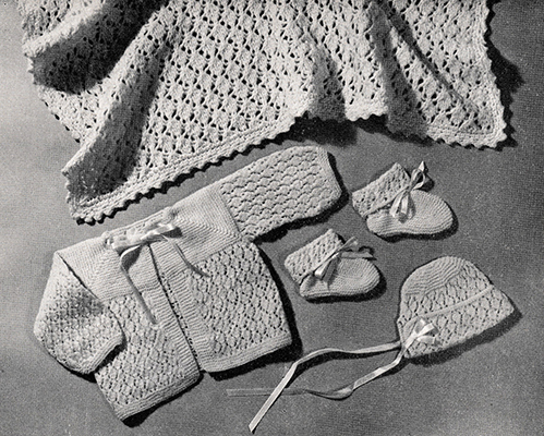 Lacy Baby Set and Carriage Cover Pattern #746