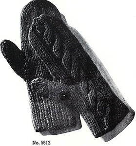 Cable Back Mittens Pattern #5612
