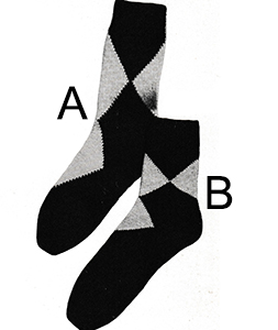 Men's Argyle-Type Socks Pattern #5709A