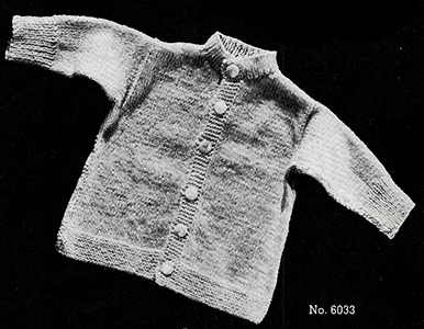 Baby's Knitted Cardigan Pattern #6033