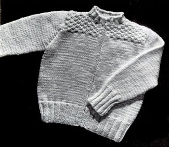 KNITTING PATTERN BABY SWEATER ZIPPER BACK   KNITTING PATTERN