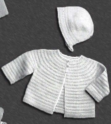 Two Color Baby Jacket and Bonnet Pattern
