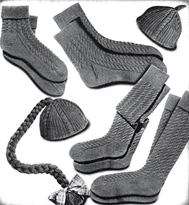 Cable Socks and Calots Set Pattern #376