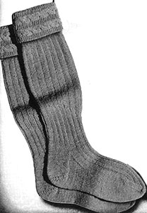 Ribbed Socks with Cable Cuff Pattern #5088